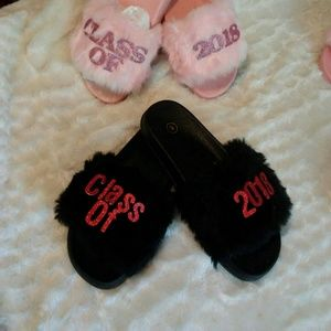 Shoes - Red and Black Class of 2018 Slippers